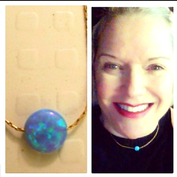 Blue opal on gold chain